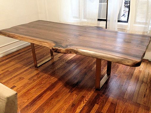 Bookmatched Live Edge Walnut Slab Dining Table Live Edge