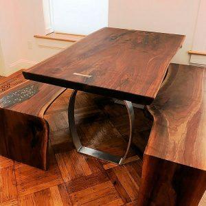 Walnut Table Bench Set