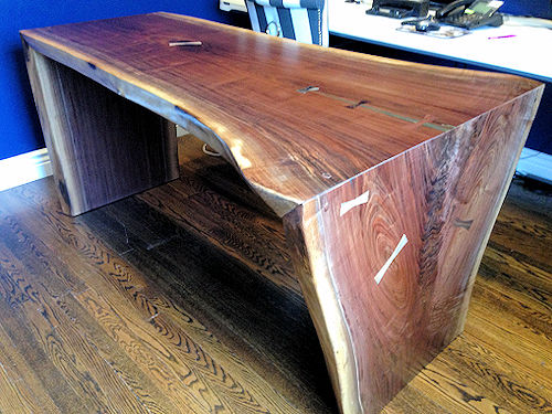Walnut-Waterfall Desk Brass Accent